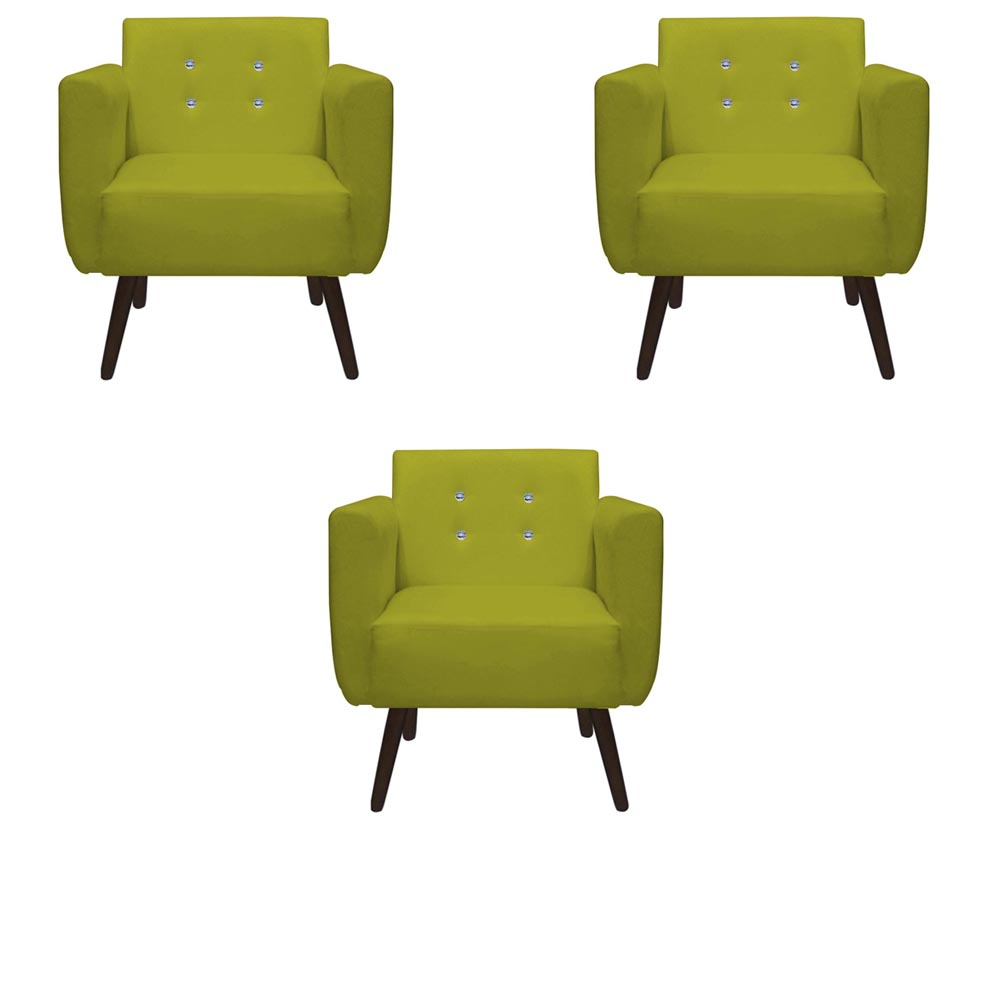 Kit 03 Poltronas Duda Decorativa Sala Recepção Pé Palito Strass Suede Amarelo D04 - D´Classe Decor