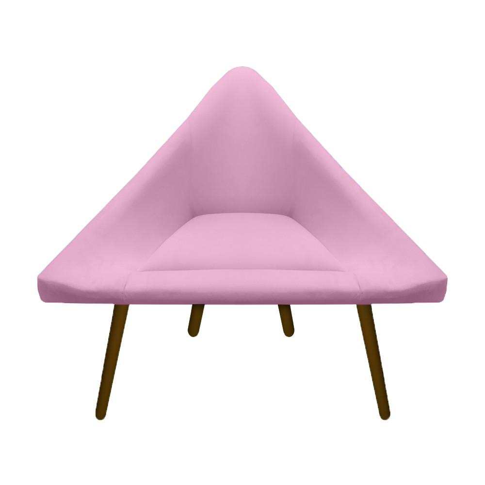 Kit 3 Poltrona Ibiza Triângulo Decoração Sala Clinica Recepção Escritório Quarto Cadeira D'Classe Decor Suede Rosa Bebê