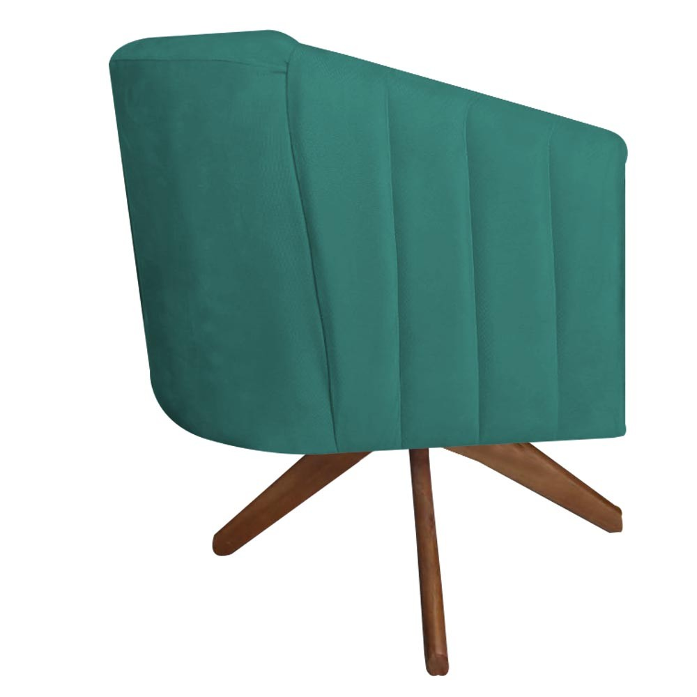 Kit 3 Poltrona Julia Decoração Base Giratória Salão Clinica Cadeira Escritório Recepção D'Classe Decor Suede Az Tiffany