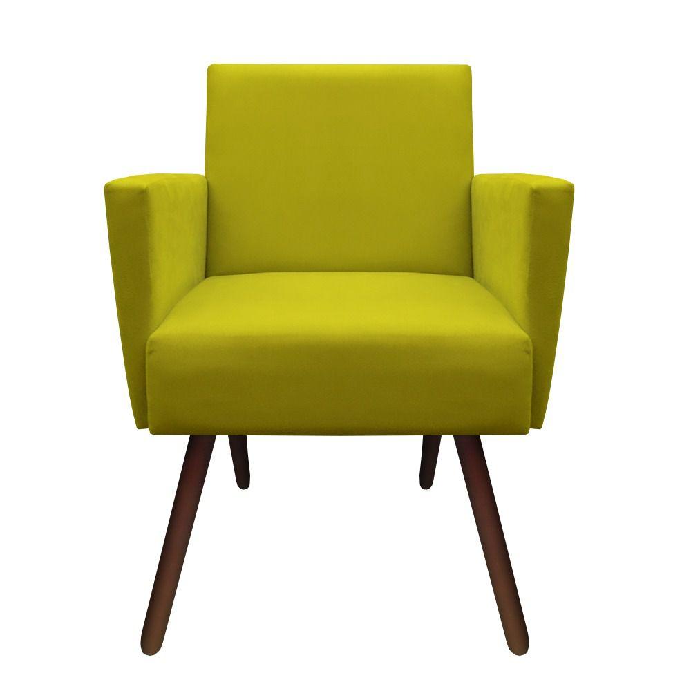 Kit 3 Poltronas Nina Decoração Sala Estar Clinica Recepção Escritório Quarto Cadeira D'Classe Decor Suede Amarelo