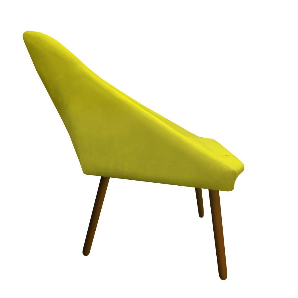 Kit 04 Poltrona Ibiza Triângulo Decoração Sala Clinica Recepção Escritório Quarto Cadeira D'Classe Decor Suede Amarelo