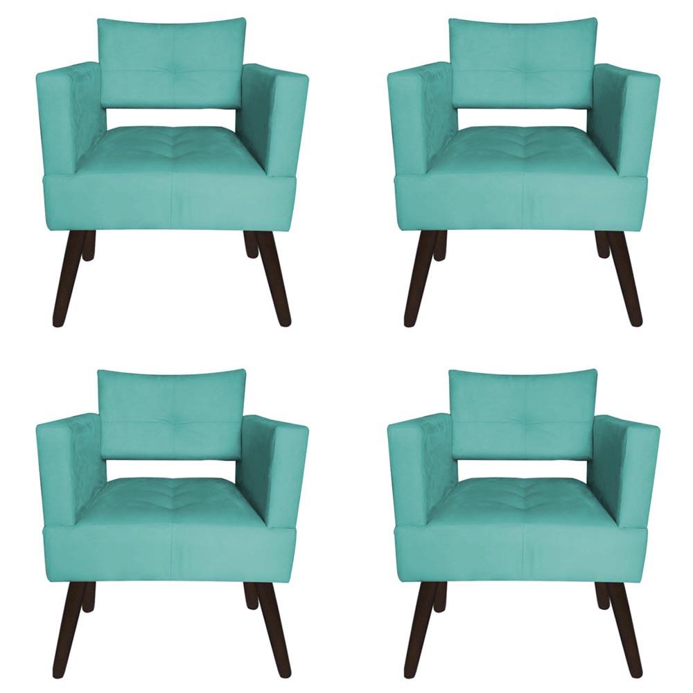 Kit 04 Poltrona Jollie Decoração Pé Palito Luxo Cadeira Sala Escritório Recepção Suede Azul Tiffany