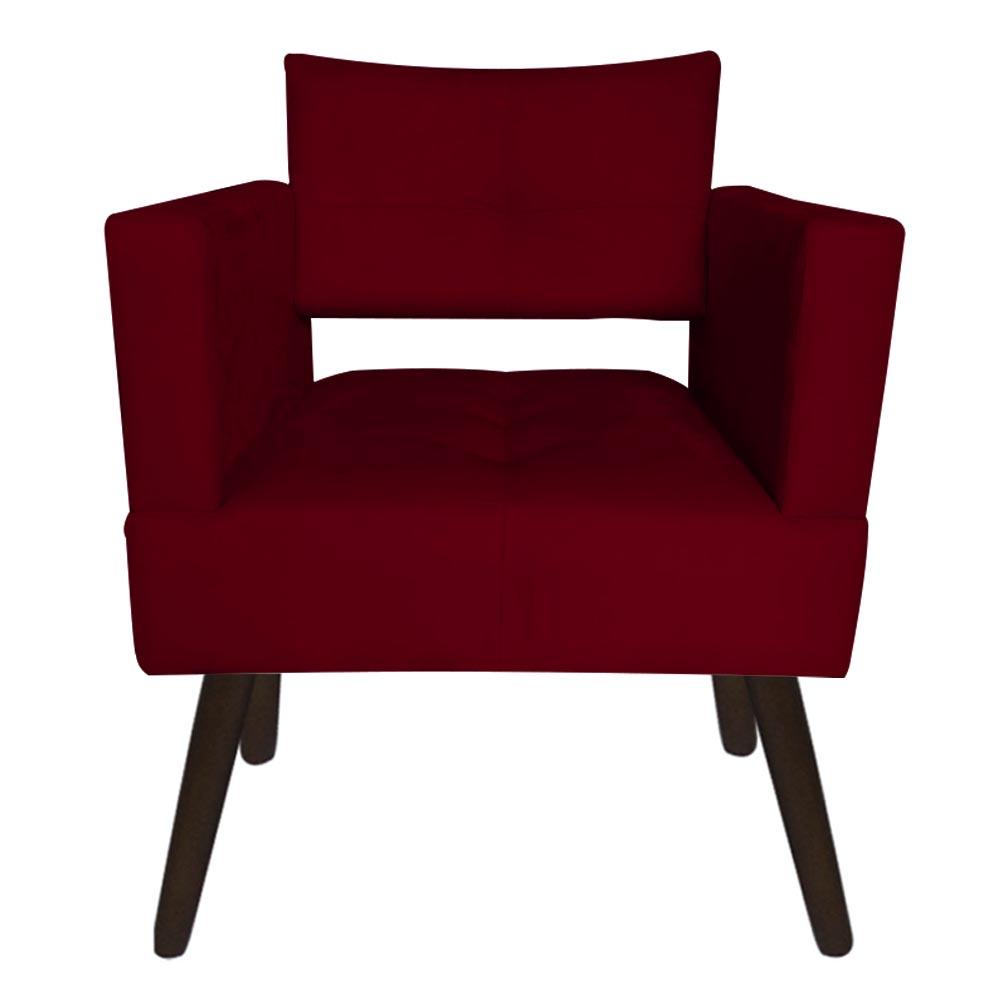 Kit 04 Poltrona Jollie Decoração Pé Palito Luxo Cadeira Sala Estar Escritório Recepção Suede Marsala
