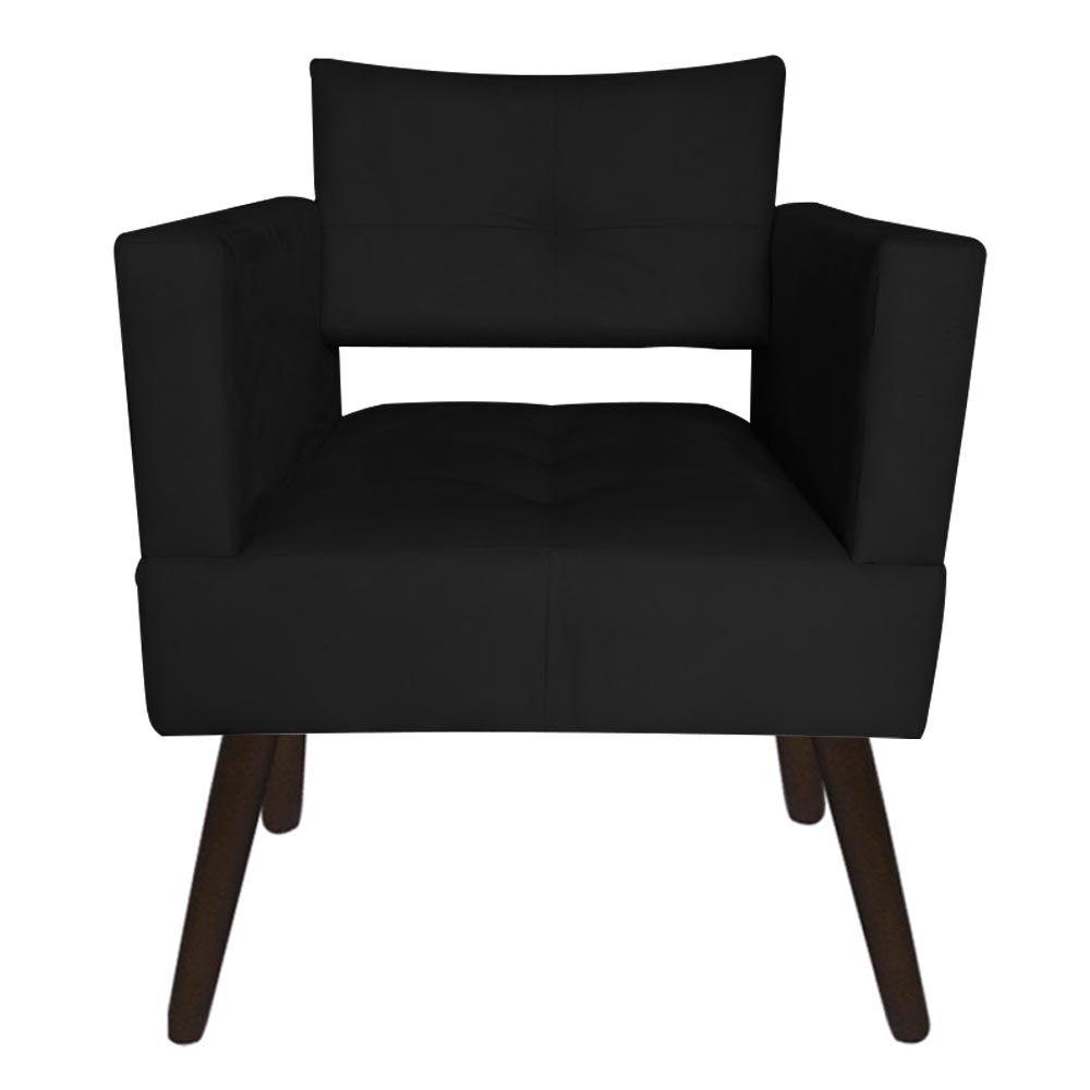 Kit 04 Poltrona Jollie Decoração Pé Palito Luxo Cadeira Sala Estar Escritório Recepção Suede Preto