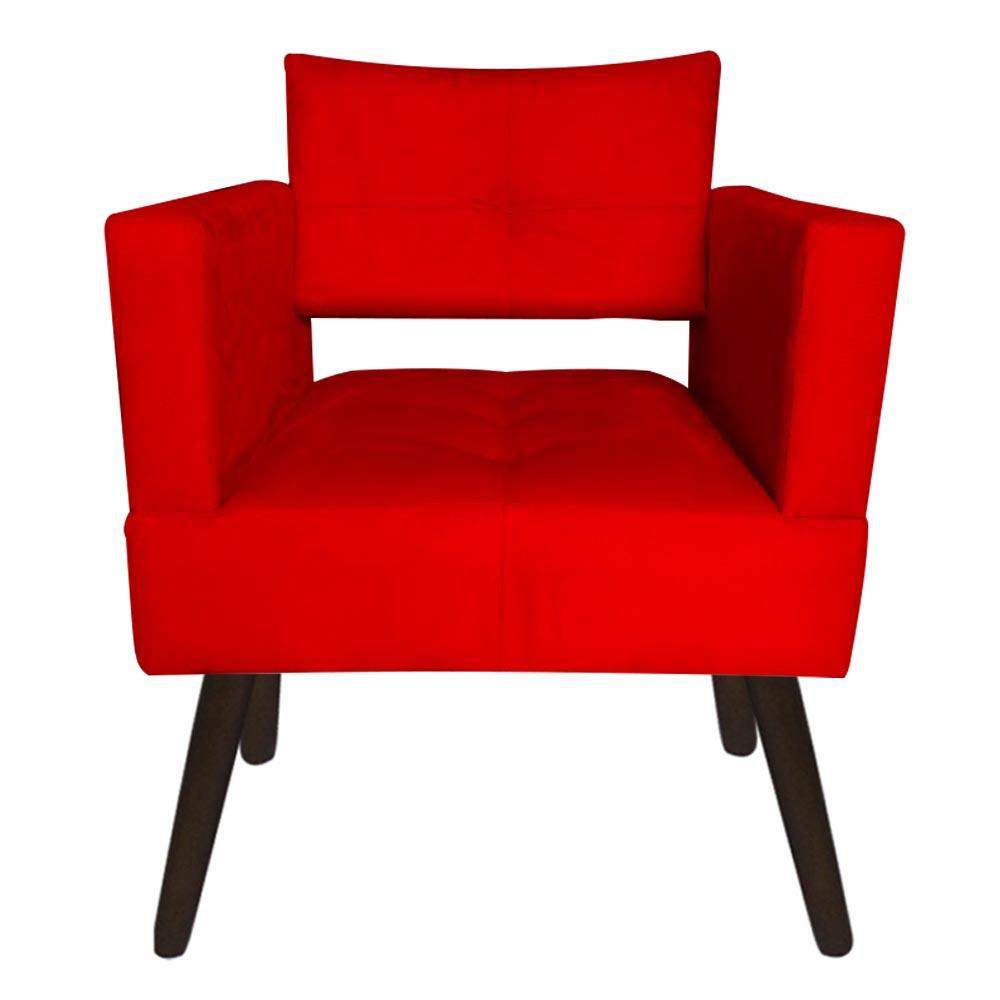 Kit 04 Poltrona Jollie Decoração Pé Palito Luxo Cadeira Sala Estar Escritório Recepção Suede Vermelho