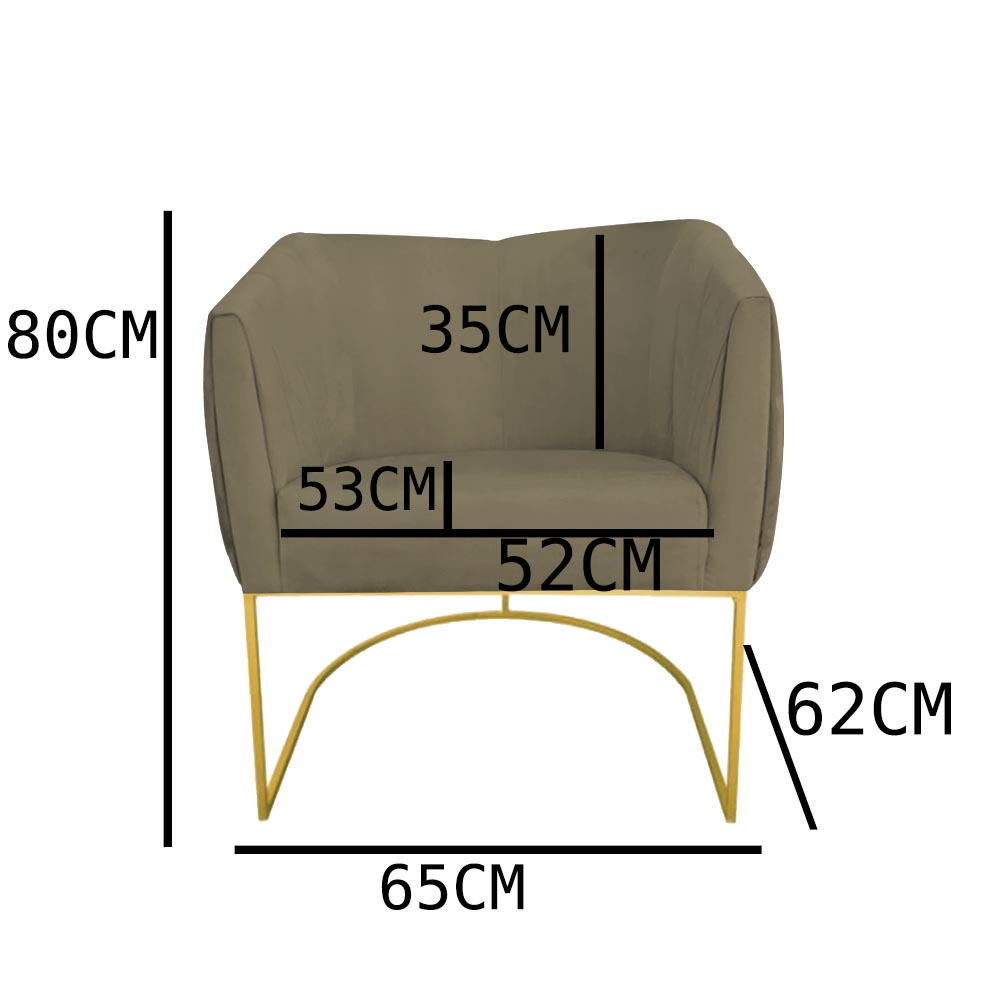 Kit 04 Poltrona Julia com base de ferro Sala de estar Escritório Recepção Clinica D'classe Decor Suede Marrom Rato
