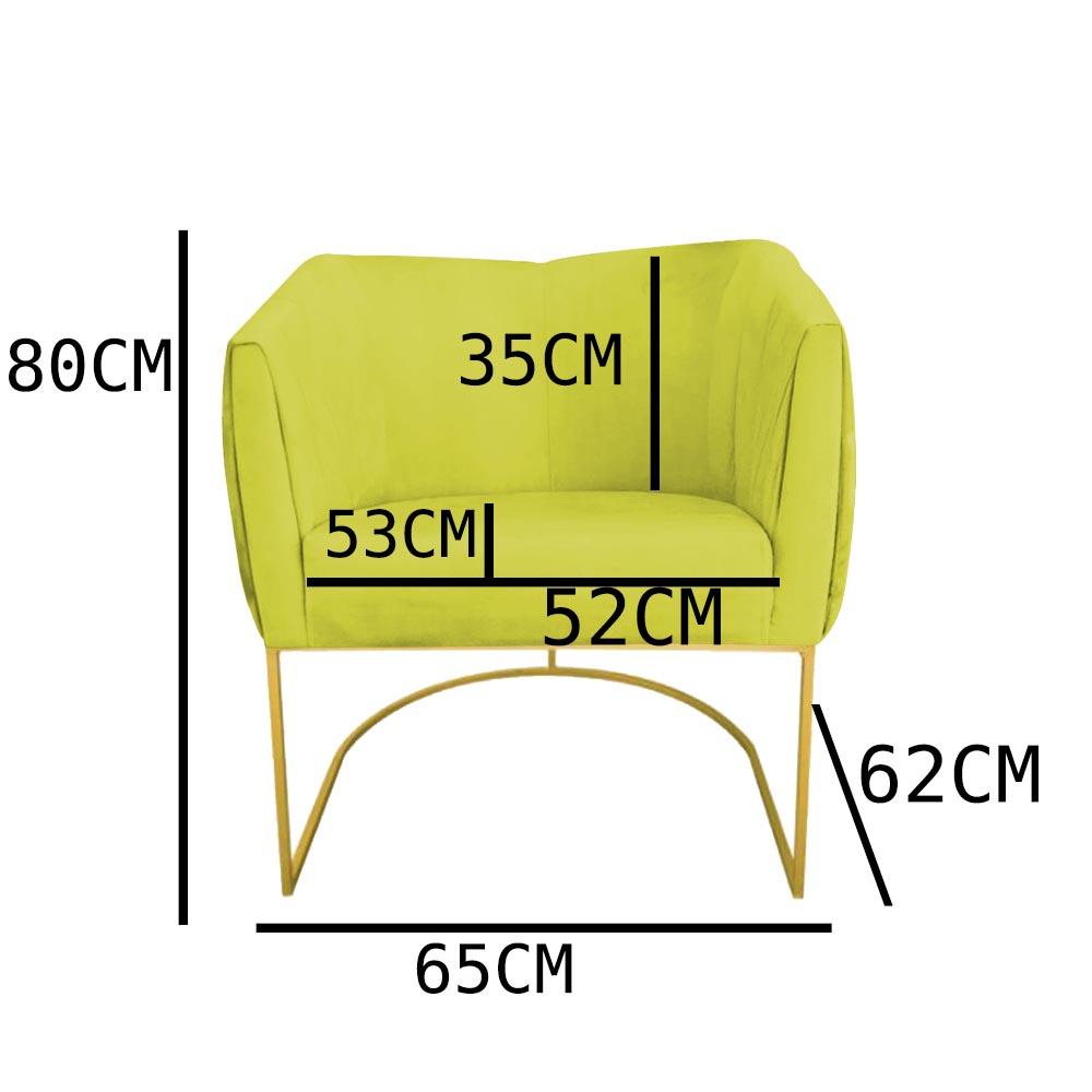 Kit 04 Poltrona Julia com base de ferro Sala de estar Escritório Recepção Clinica D'classe Decor Suede Amarelo