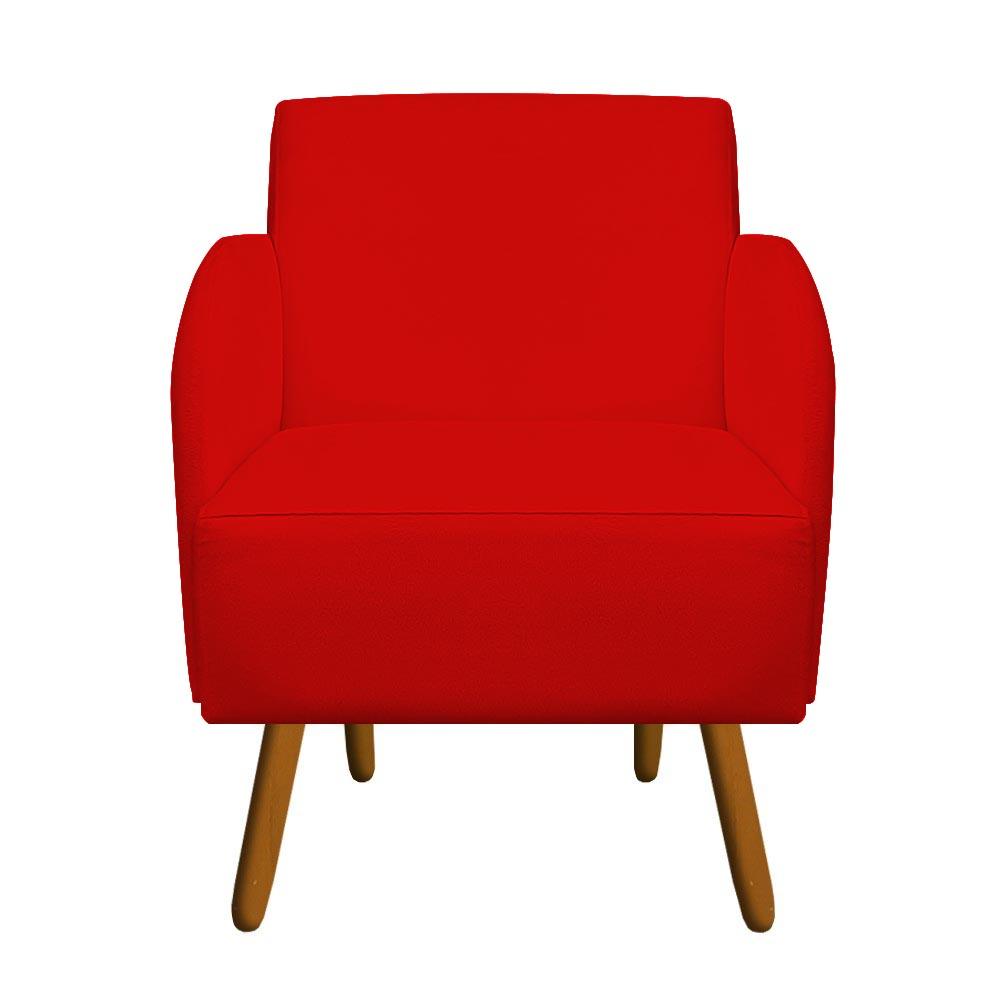Kit 04 Poltrona Laura Decoração Pé Palito Sofá Sala Escritório Recepção Suede Vermelho