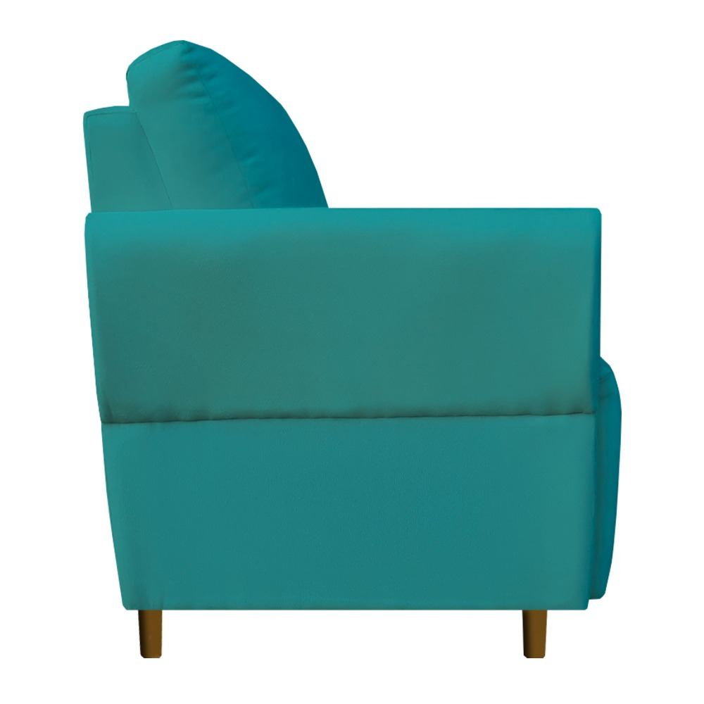 Kit 04 Poltrona Nicolle Decoração Clinica Escritório Recepção Sala Quarto Salão Suede Azul Tiffany