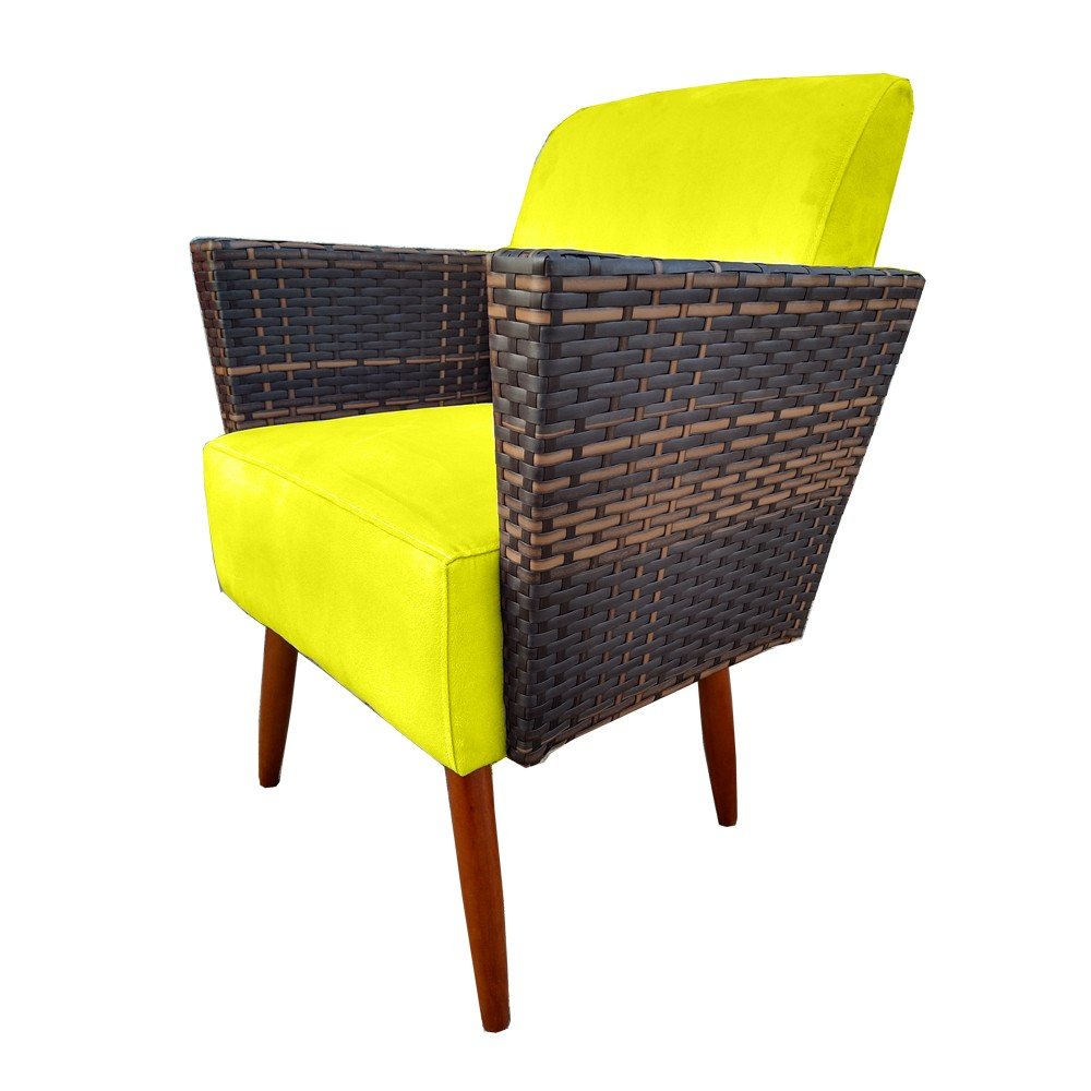 Kit 4 Poltrona Chanel Decoração Pé Palito Cadeira Escritório Clinica Jantar Sala Estar D'Classe Decor Suede Amarelo