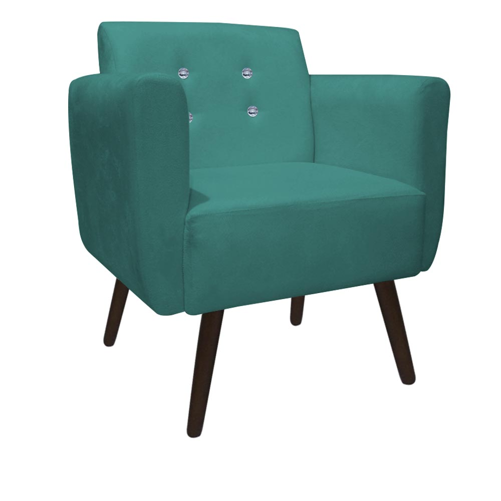 Kit 04 Poltronas Duda Decorativa Sala Recepção Pé Palito Strass Suede Azul Tifany D05 - D´Classe Decor