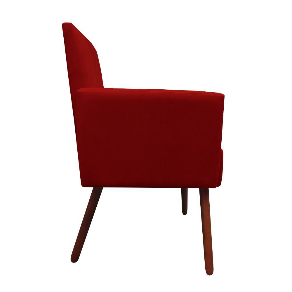 Kit 4 Poltronas Nina Decoração Sala Estar Clinica Recepção Escritório Quarto Cadeira D'Classe Decor Suede Vermelho