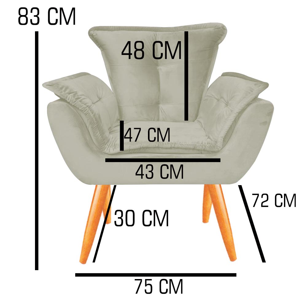 Kit 04 Poltronas Opala Decorativa Sala de Estar Recepção Pé Palito Veludo Preto C11 - D´Classe Decor