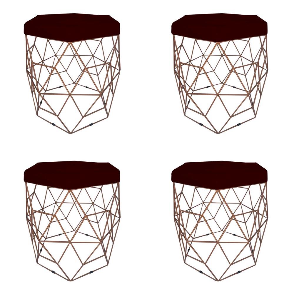 Kit 04 Puffs Banqueta Aramado Diamante Hexágono Sala Quarto Suede Marsala Sala D01 - D´Classe Decor