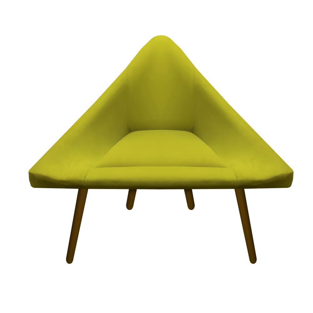 Kit 05 Poltrona Ibiza Triângulo Decoração Sala Clinica Recepção Escritório Quarto Cadeira D'Classe Decor Suede Amarelo
