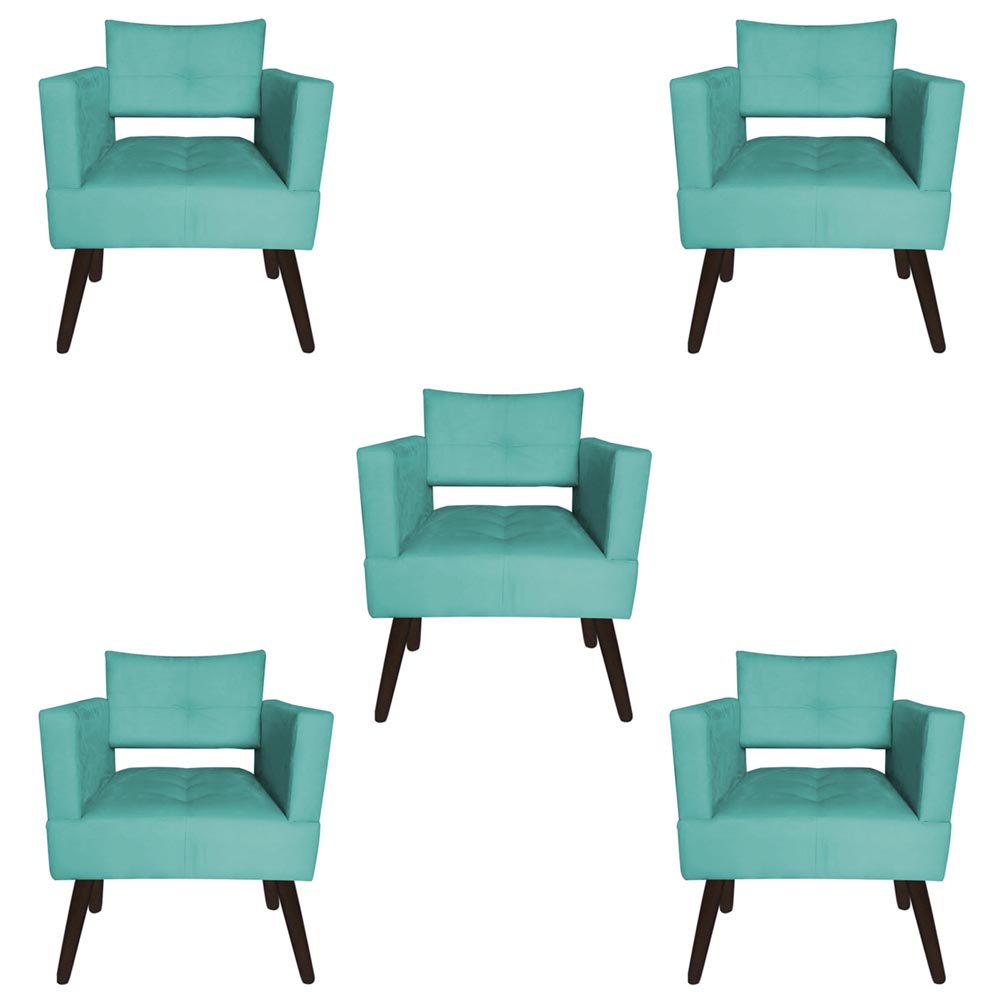 Kit 05 Poltrona Jollie Decoração Pé Palito Luxo Cadeira Sala Estar Escritório Recepção D'Classe Decor Suede Azul Tiffany