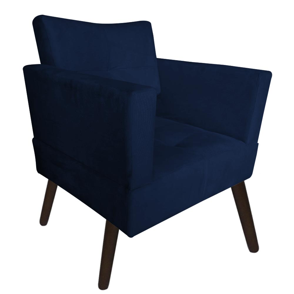 Kit 05 Poltrona Jollie Decoração Pé Palito Luxo Cadeira Sala Estar Escritório Recepção D'Classe Decor Suede Azul Marinho