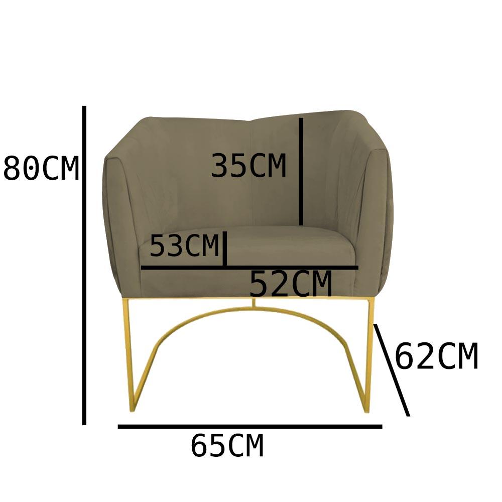 Kit 05 Poltrona Julia com base de ferro Sala de estar Escritório Recepção Clinica D'classe Decor Suede Marrom Rato