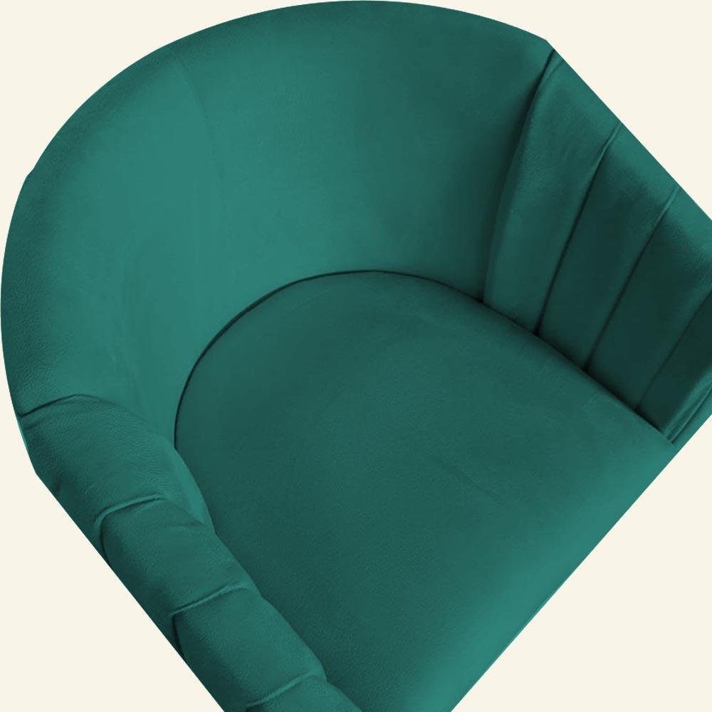 Kit 05 Poltrona Julia com base de ferro Sala de estar Escritório Recepção Clinica D'classe Decor Suede Azul Tiffany