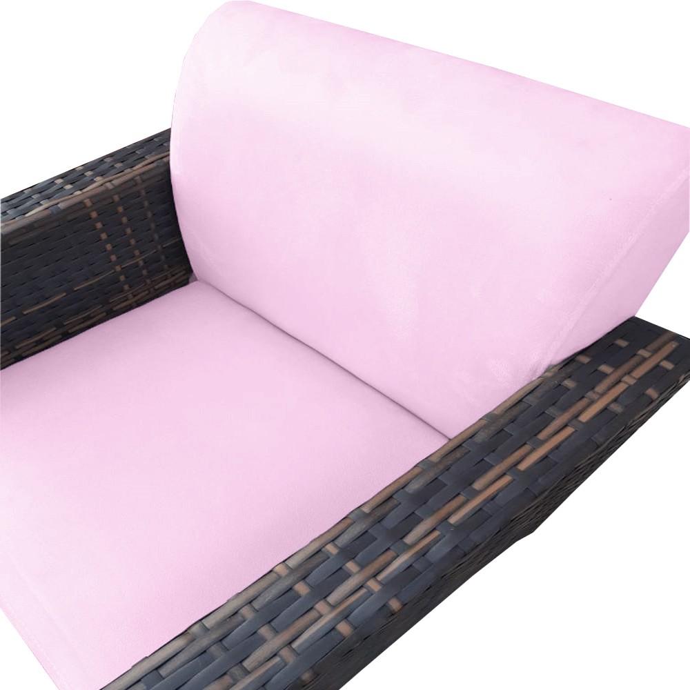 Kit 5 Poltrona Chanel Decoração Pé Palito Cadeira Escritório Clinica Jantar Sala Estar D'Classe Decor Suede Rosa Bebê