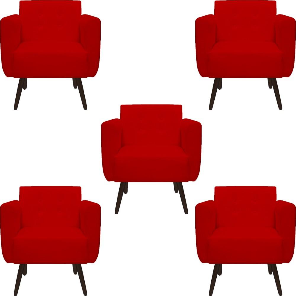 Kit 05 Poltronas Duda Decorativa Sala de Estar Recepção Pé Palito Suede Vermelho D09 - D´Classe Decor