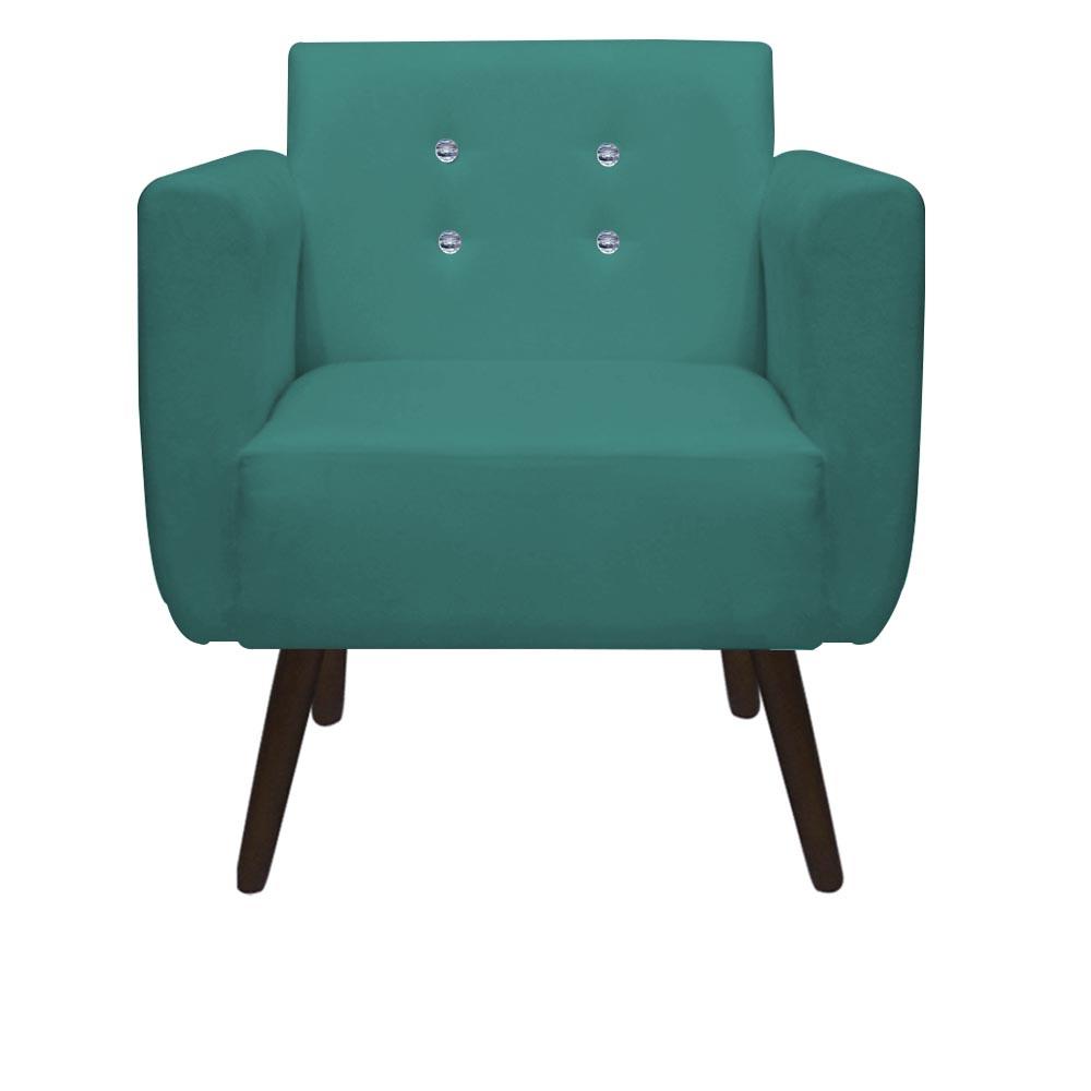 Kit 05 Poltronas Duda Decorativa Sala Recepção Pé Palito Strass Suede Azul Tifany D05 - D´Classe Decor