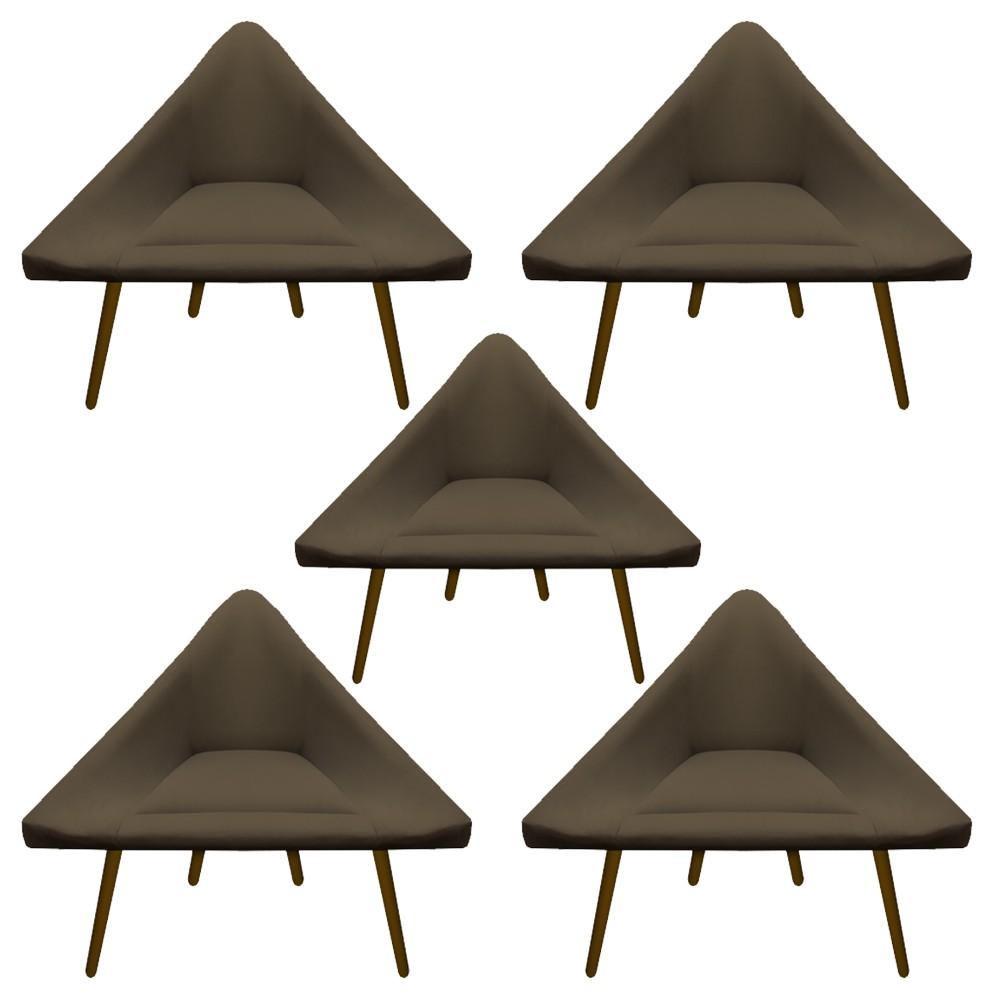 Kit 5 Poltrona Ibiza Triângulo Decoração Sala Clinica Recepção Escritório Quarto Cadeira D'Classe Decor Suede Marrom Rato