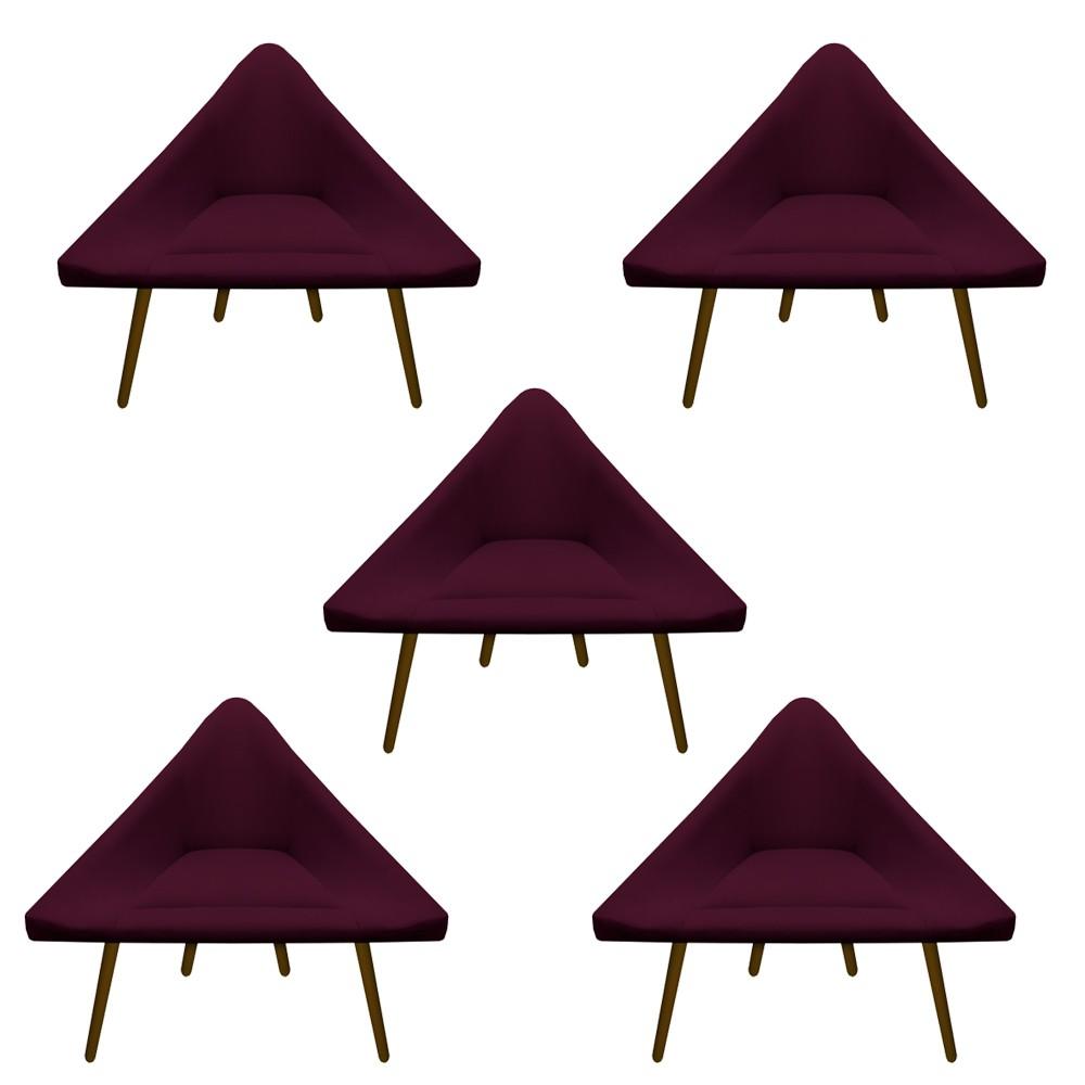 Kit 5 Poltrona Ibiza Triângulo Decoração Sala Clinica Recepção Escritório Quarto Cadeira D'Classe Decor Suede Marsala