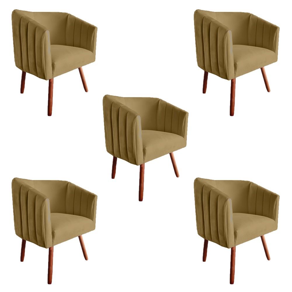 Kit 5 Poltrona Julia Decoração Salão Cadeira Escritório Recepção Sala Estar Amamentação D'Classe Decor Suede Marrom Rato