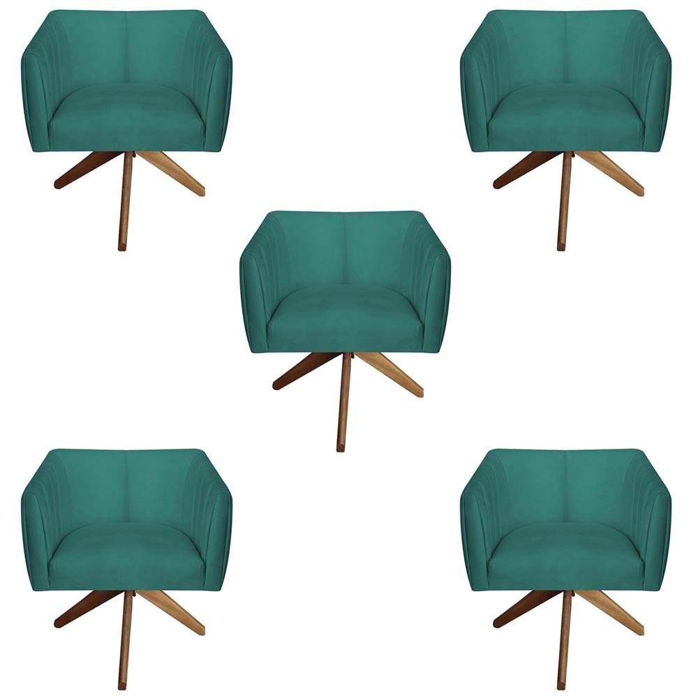 Kit 5 Poltrona Julia Decoração Base Giratória Salão Clinica Cadeira Escritório Recepção D'Classe Decor Suede Tiffany