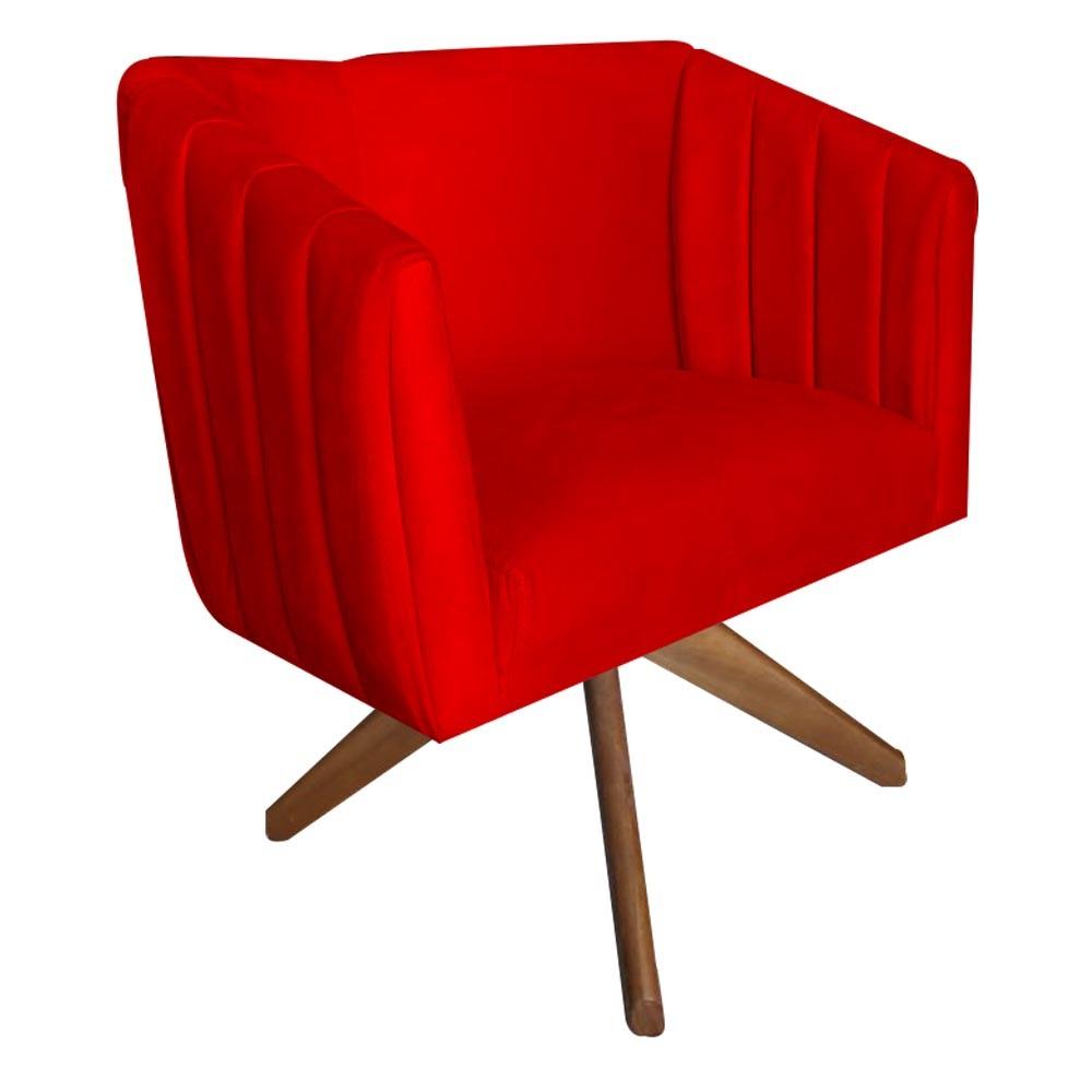 Kit 5 Poltrona Julia Decoração Base Giratória Salão Clinica Cadeira Escritório Recepção D'Classe Decor Suede Vermelho