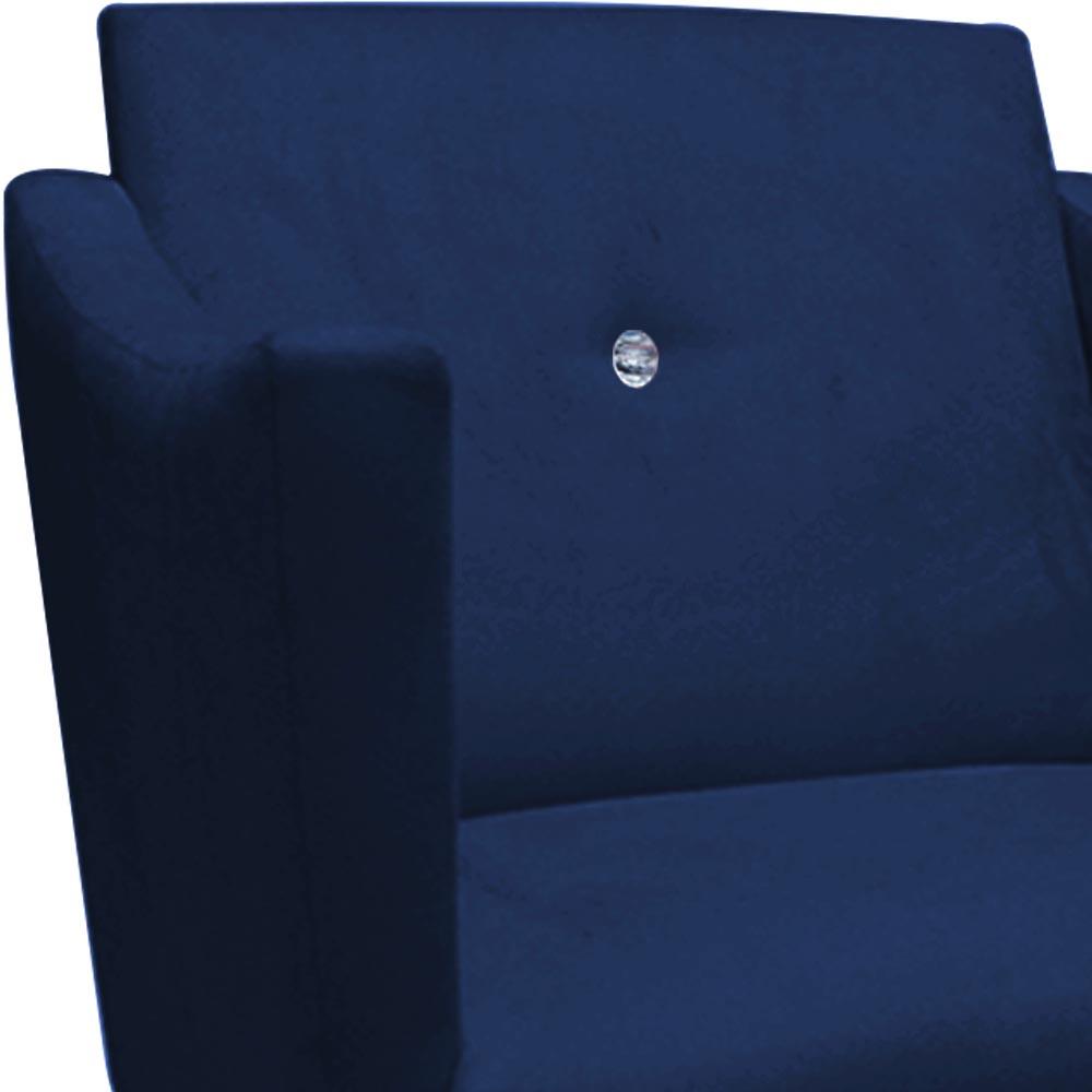 Kit 05 Poltronas Naty Strass Sala de Estar Recepção Pé Palito Suede Azul Marinho D02 - D´Classe Decor
