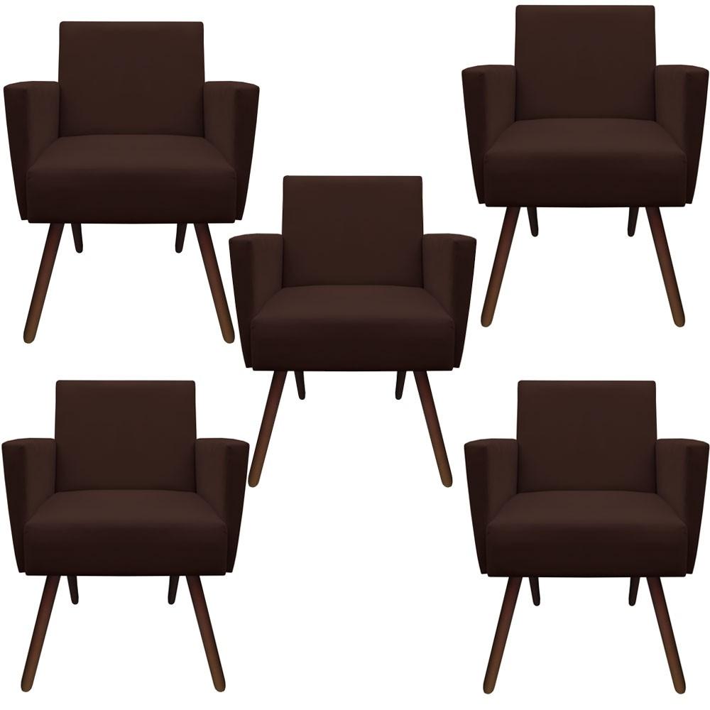 Kit 5 Poltronas Nina Decoração Sala Estar Clinica Recepção Escritório Quarto Cadeira D'Classe Decor Suede marrom