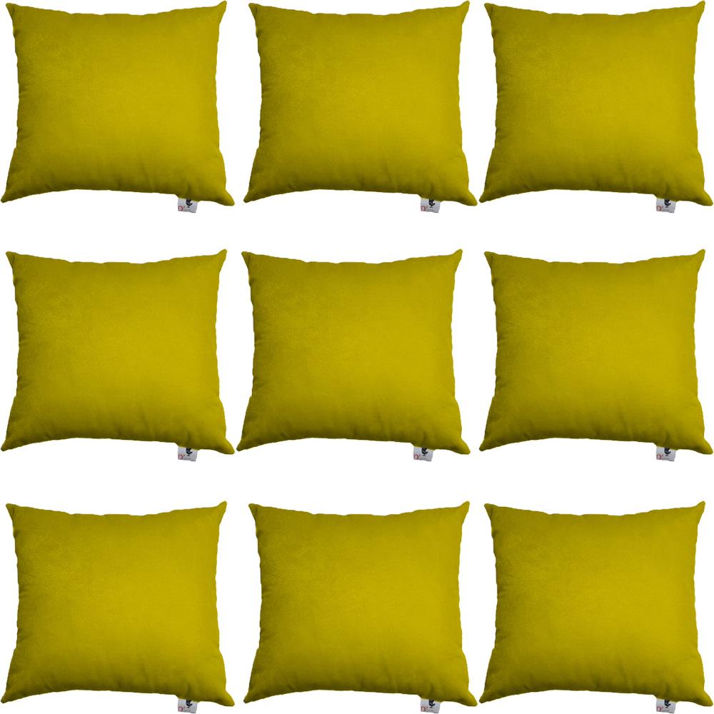 Kit 09 Almofadas Decorativa Com Enchimento Suede Amarelo D04 - D´Classe Decor