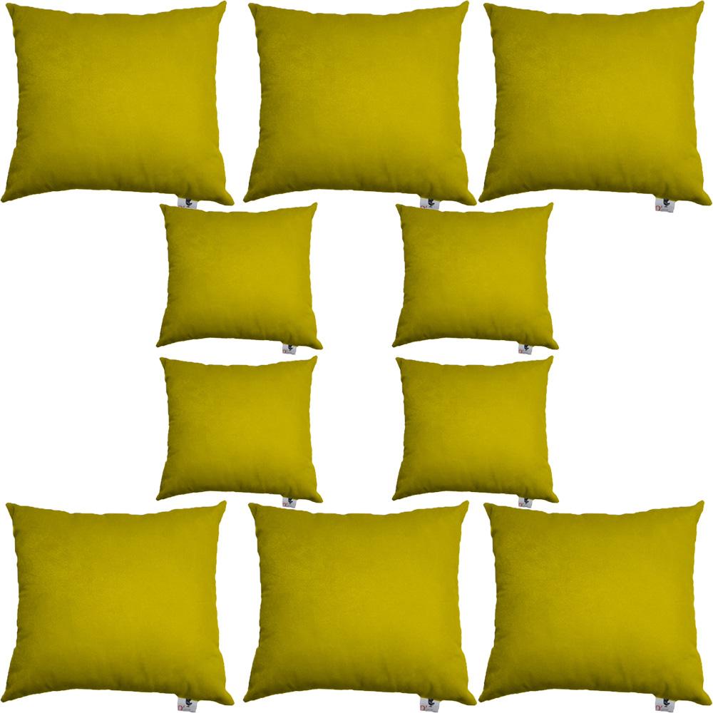 Kit 10 Capas De Almofadas Decorativa Suede Amarelo D04 - D´Classe Decor