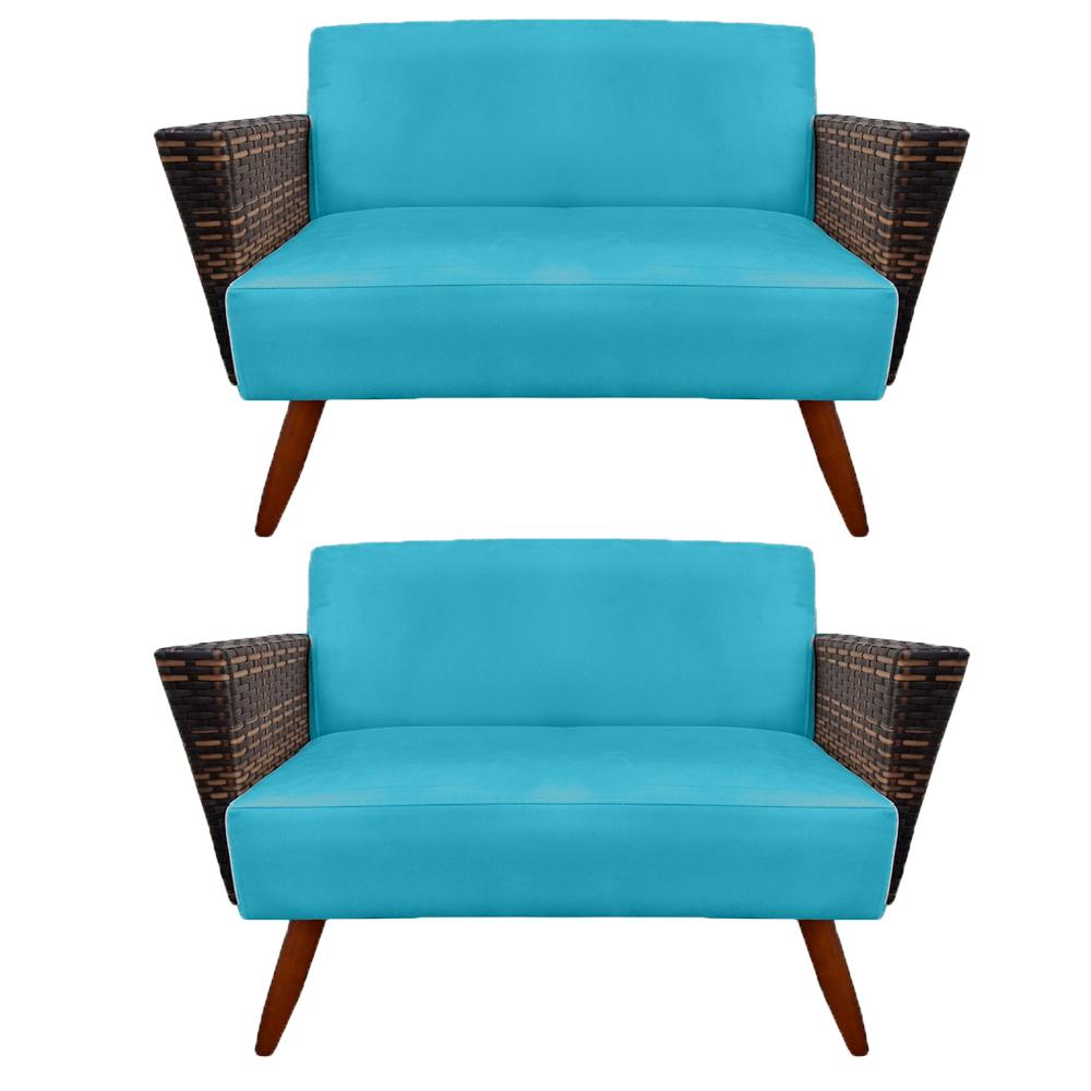 Kit 2 Namoradeira Chanel Decoração Pé Palito Cadeira Escritório Clinica Jantar Sala D'Classe Decor Suede Azul Tiffany