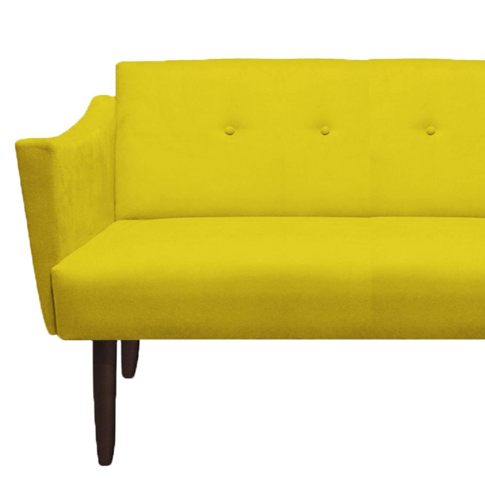 Kit 2 Namoradeira Naty Sofá Botão Tecido Decoração Recepção Escritório Sala Estar Quarto D'Classe Decor Suede Amarelo
