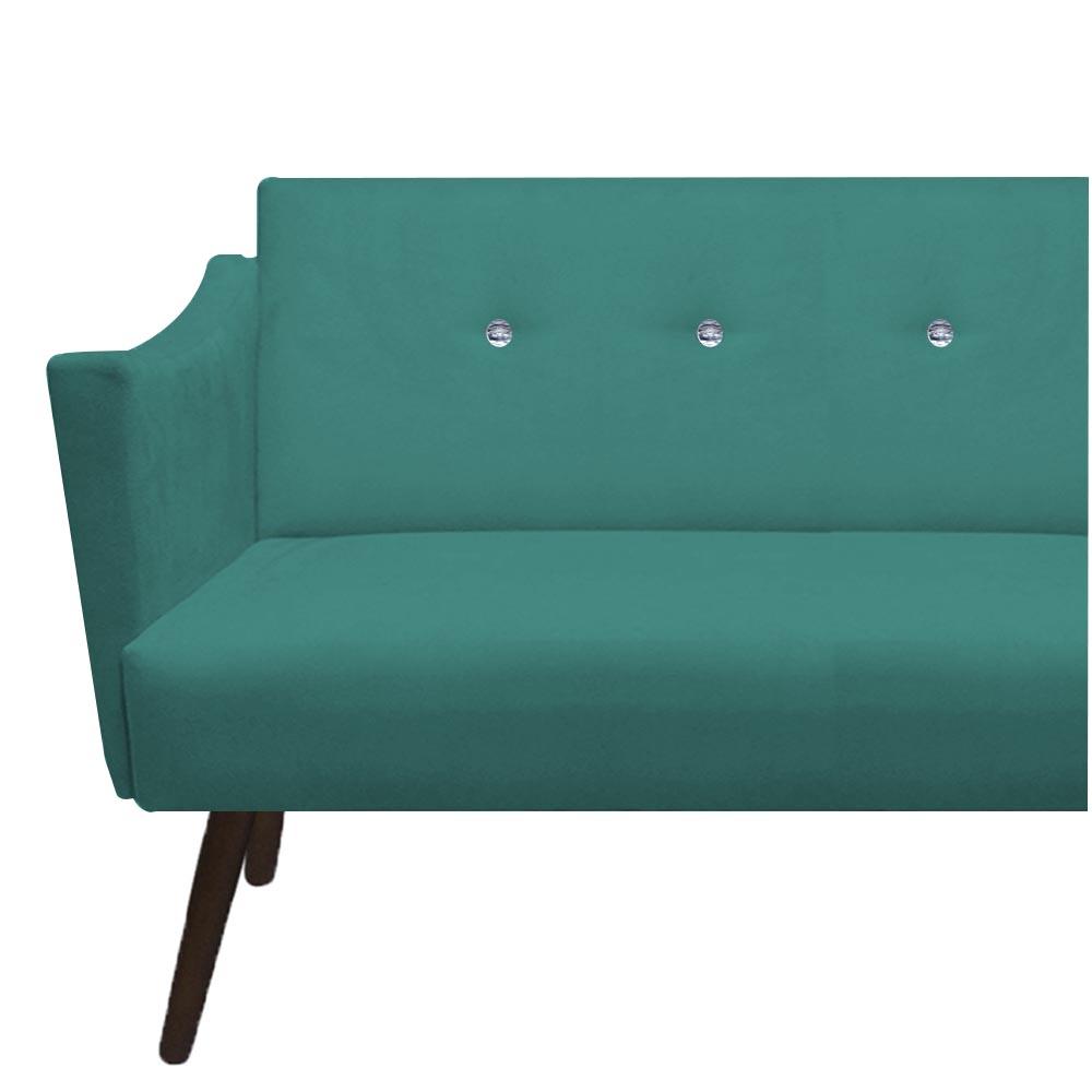 Kit 2 Namoradeira Naty Strass Pé Palito Decoração Clínica Recepção Sala Estar D'Classe Decor Suede Azul Tiffany