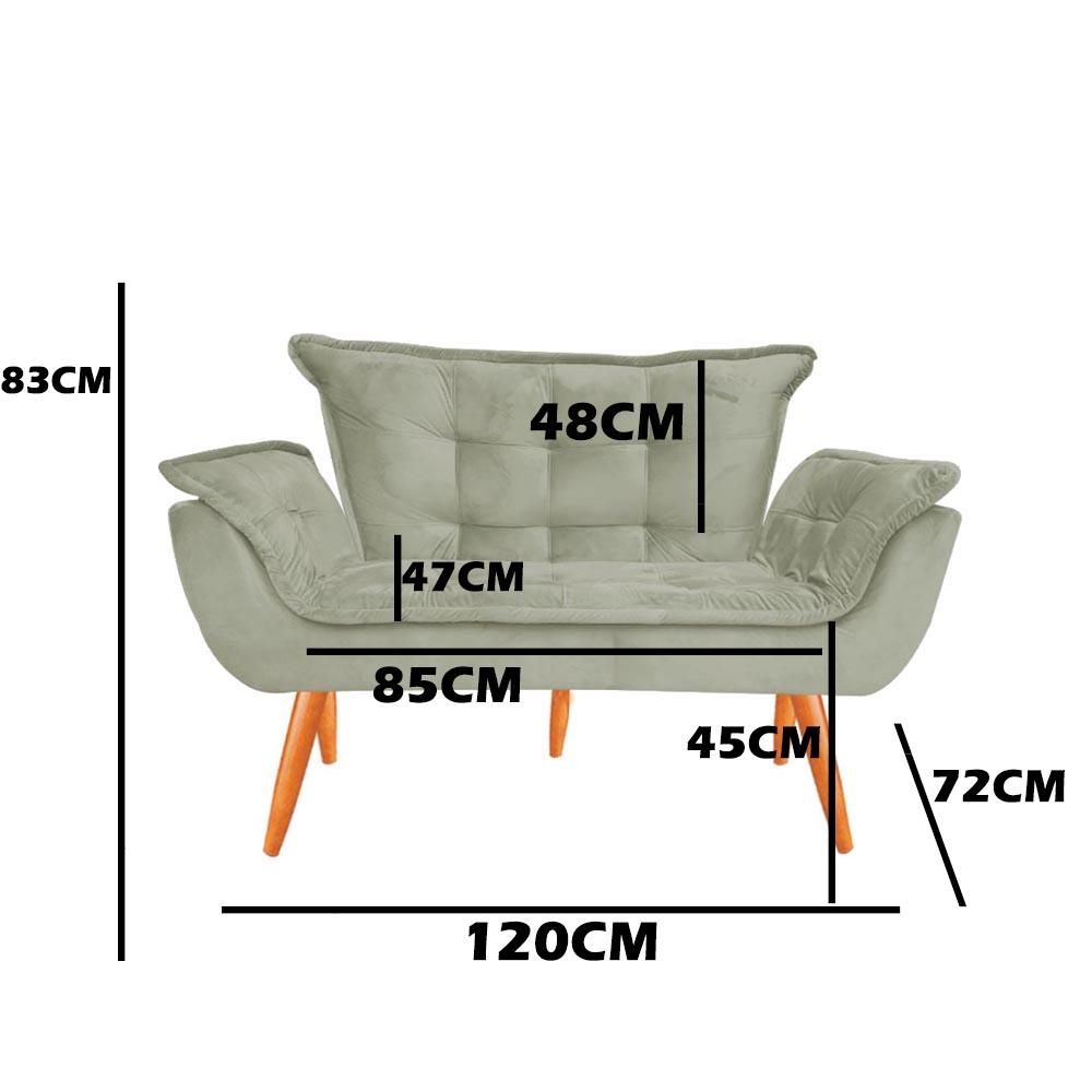 Kit 2 Namoradeira Opala Sofá Decoração Clínica Recepção Escritório Sala Estar D'Classe Decor Veludo Terra