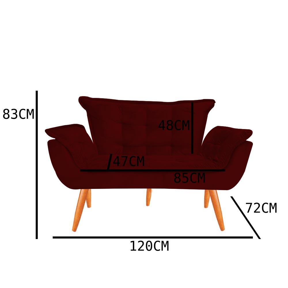 Kit 2 Namoradeira Opala Sofá Decoração Clínica Recepção Escritório Sala Estar D'Classe Decor Veludo Marsala