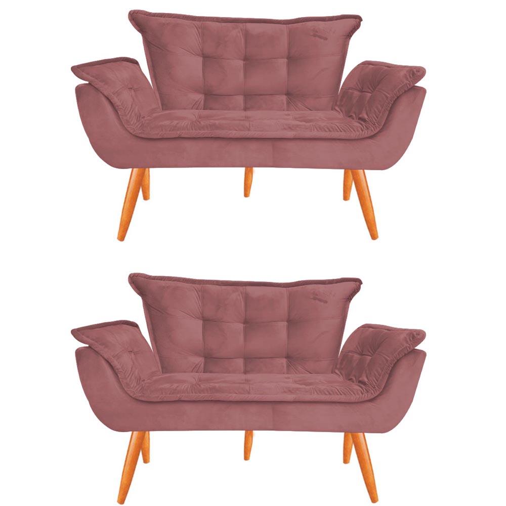 Kit 2 Namoradeira Opala Sofá Decoração Clínica Recepção Escritório Sala Estar D'Classe Decor Veludo Rosê