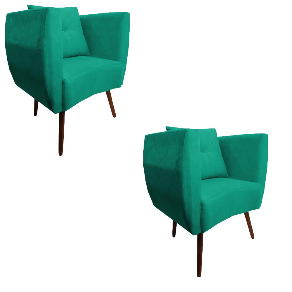 Kit 2 Poltrona Bia Decoração Pé Palito Sala Estar Jantar Escritório Clinica Quarto D'Classe Decor Suede Azul Tiffany