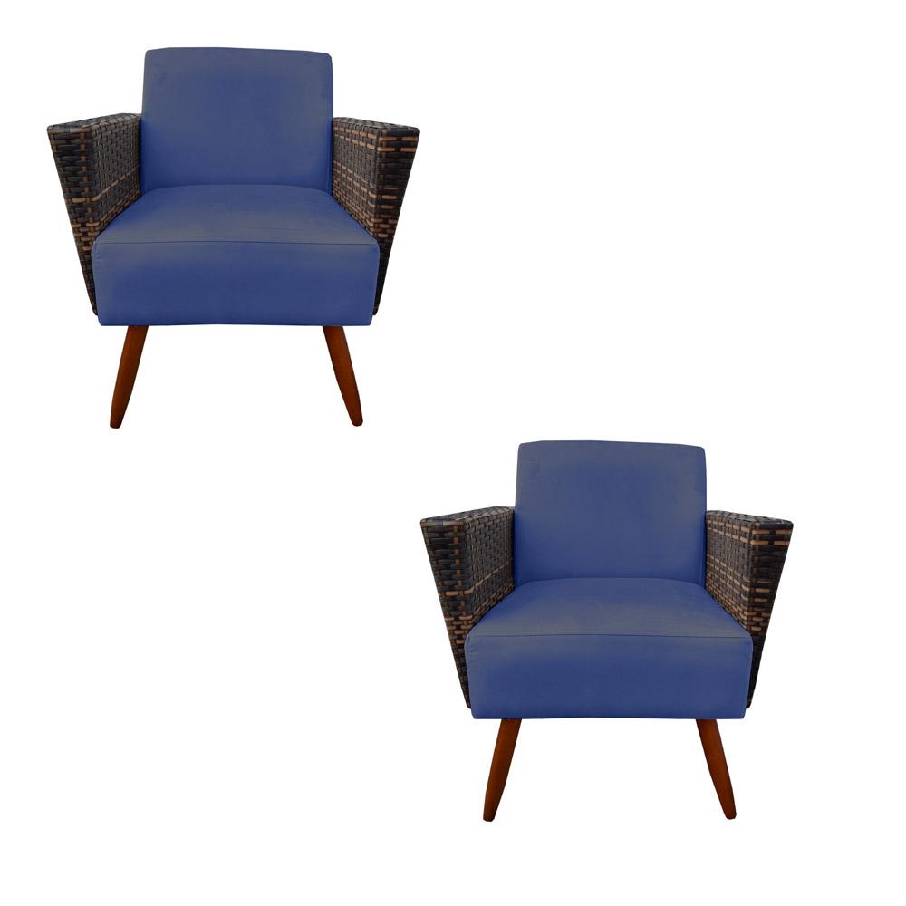 Kit 2 Poltrona Chanel Decoração Pé Palito Cadeira Escritório Clinica Estar Suede Azul Marinho
