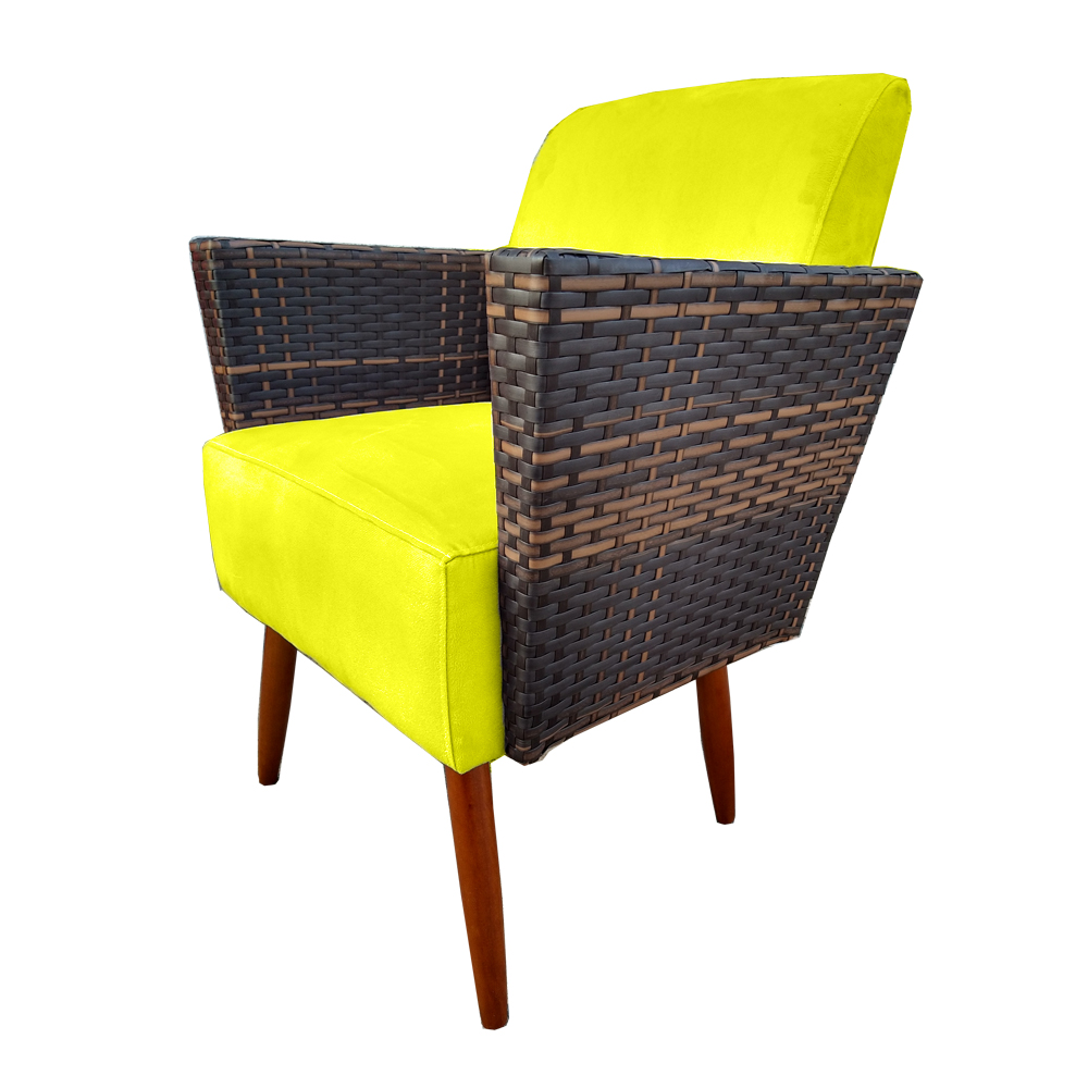 Kit 2 Poltrona Chanel Decoração Pé Palito Cadeira Escritório Clinica Jantar Estar Suede Amarelo