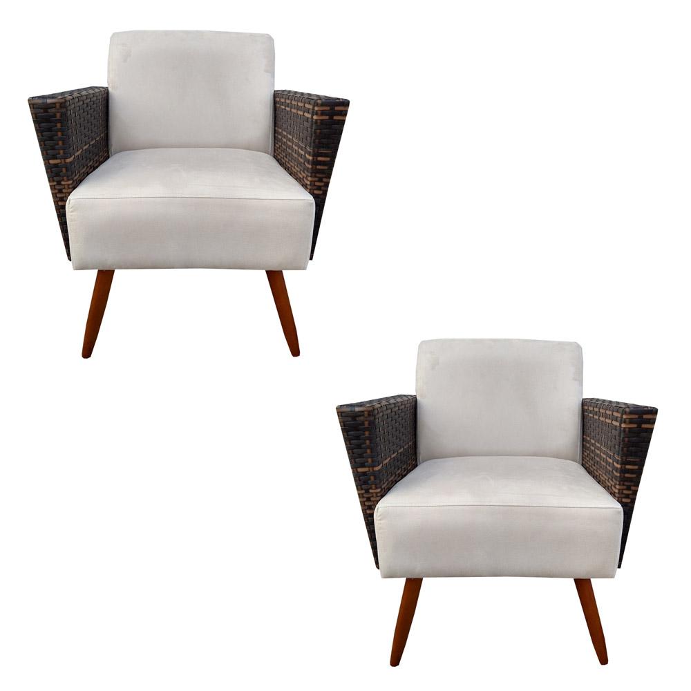 Kit 2 Poltrona Chanel Decoração Pé Palito Cadeira Escritório Clinica Jantar Estar Suede Bege