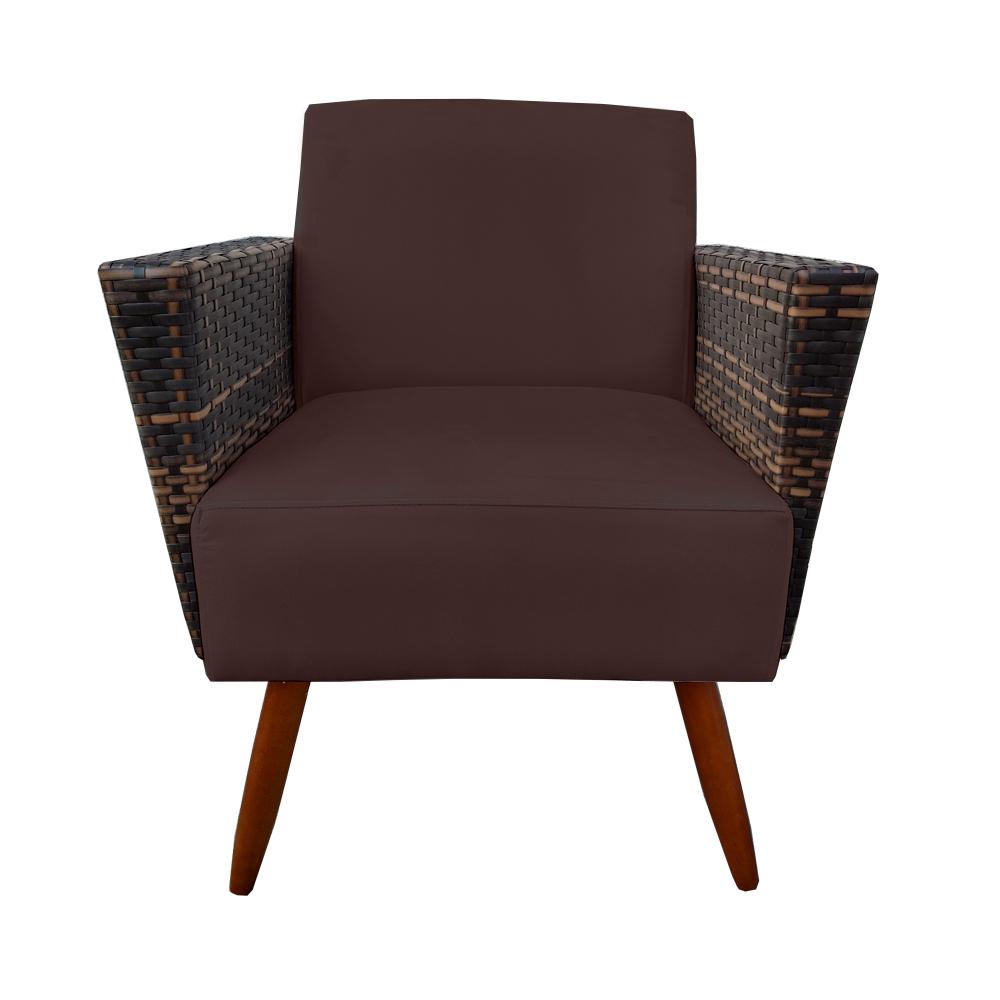 Kit 2 Poltrona Chanel Decoração Pé Palito Cadeira Escritório Clinica Jantar Estar Suede Marrom