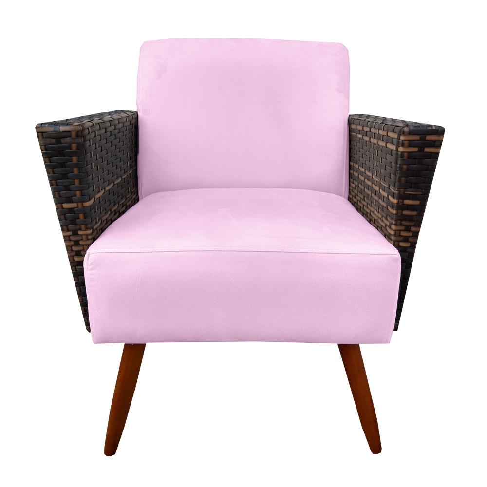 Kit 2 Poltrona Chanel Decoração Pé Palito Cadeira Escritório Clinica Jantar Estar Suede Rosa Bebê