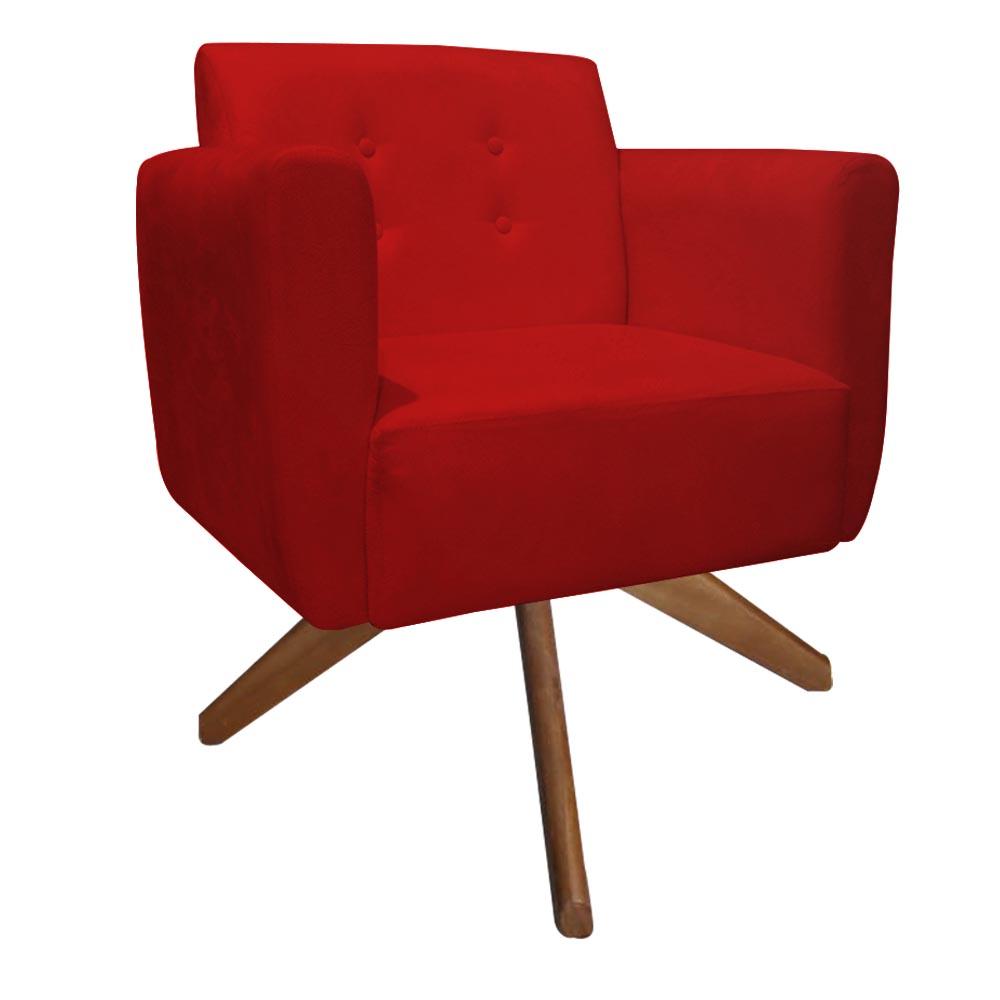 Kit 2 Poltrona Duda Decoraçâo Base Giratória Cadeira Recepção Escritório Clinica D'Classe Decor Suede Vermelho
