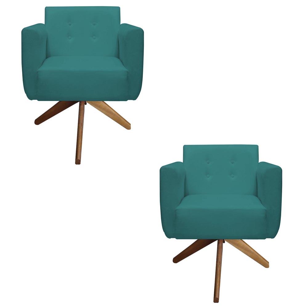 Kit 2 Poltrona Duda Decoraçâo Base Giratória Cadeira Recepção Escritório Clinica D'Classe Decor Suede Azul Tiffany