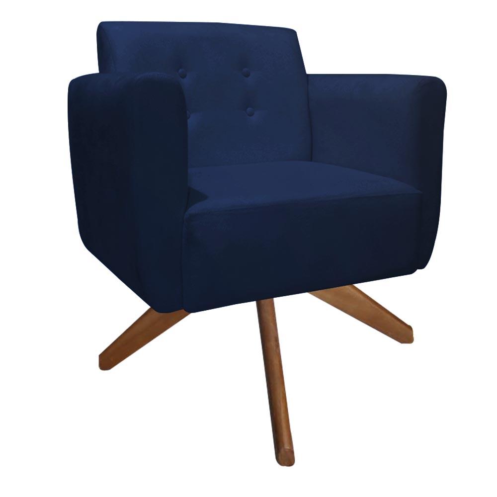 Kit 2 Poltrona Duda Decoraçâo Base Giratória Cadeira Recepção Escritório Clinica D'Classe Decor Suede Azul Marinho